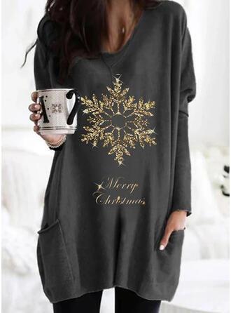 Boże Narodzenie Nadruk Wytłaczany Okrągły dekolt Długie rękawy Świąteczna bluza