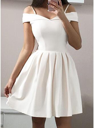 Jednolita Krótkie rękawy/Odkryte ramię W kształcie litery A Długośc do kolan Przyjęcie/Elegancki Łyżwiaż Sukienki