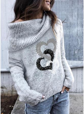 Nadruk Serce Na jedno ramię Nieformalny Swetry