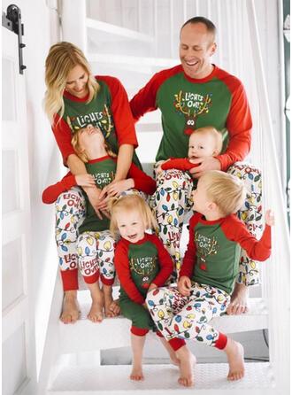 Wytłaczany Kreskówka Rodzinne Dopasowanie Świąteczne piżamy