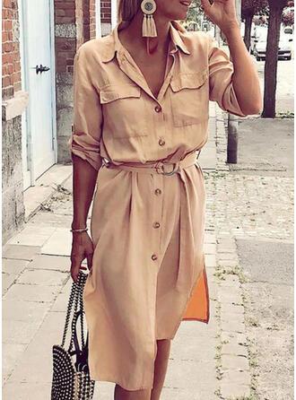 Jednolita Długie rękawy W kształcie litery A Casual Midi Sukienki