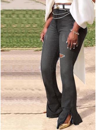 Marszczona Duży rozmiar Podarte Długo Elegancki Seksowny Dżinsy