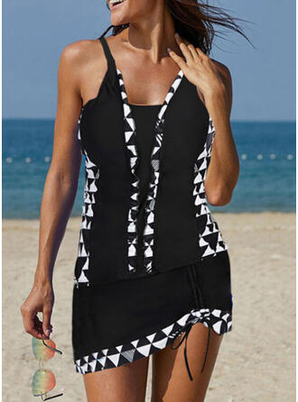 Splice color Tassels Strap U-Neck Elegant Tankinis Swimsuits