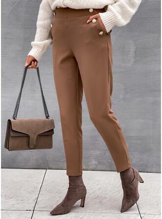 Jednolity Długo Elegancki Duży rozmiar Biuro / Biznes Pocket Przycisk Spodnie