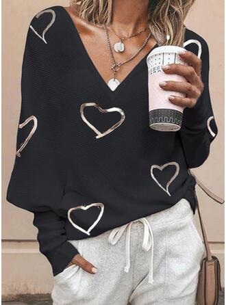 Nadruk Serce Dekolt w kształcie litery V Casual Swetry