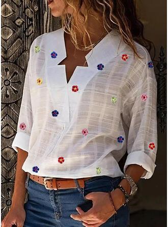 Nadruk Kwiatowy Dekolt w kształcie litery V Długie rękawy Casual Bluzki