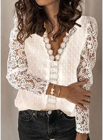 Jednolity Koronka Dekolt w kształcie litery V Bufiaste rękawy Długie rękawy Casual Elegancki Bluzki