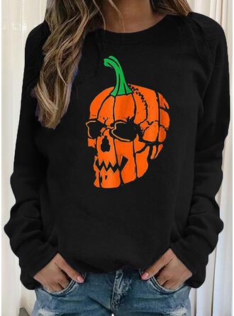 Halloween Skull Head Okrągły dekolt Długie rękawy Bluza