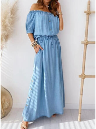 Nadrukowana Rękawy 1/2 W kształcie litery A Casual/Wakacyjna Maxi Sukienki