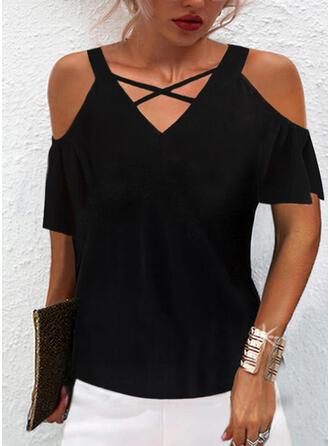Jednolity Zimne ramię Krótkie rękawy T-shirty