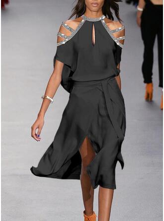 Cekiny/Jednolita Krótkie rękawy/Odkryte ramię W kształcie litery A Mała czarna/Seksowna/Przyjęcie Midi Sukienki