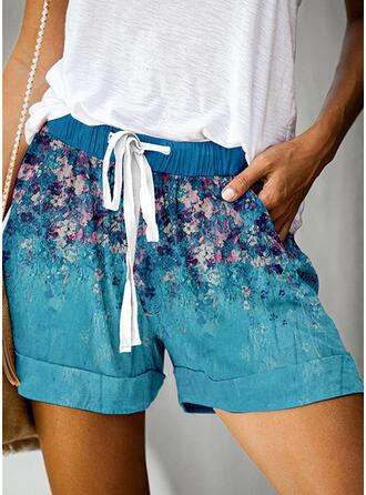 Kwiatowy Nadruk Nad kolanem Nieformalny Wakacyjna Duży rozmiar Pocket drawstring Spodnie