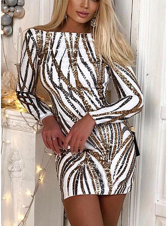 Sequins Long Sleeves Bodycon Above Knee Sexy Dresses