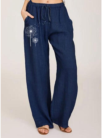 Pockets Shirred Plus Size Long Boho Casual Print Pants