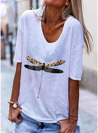 Animal Print V-Neck 1/2 Sleeves T-shirts