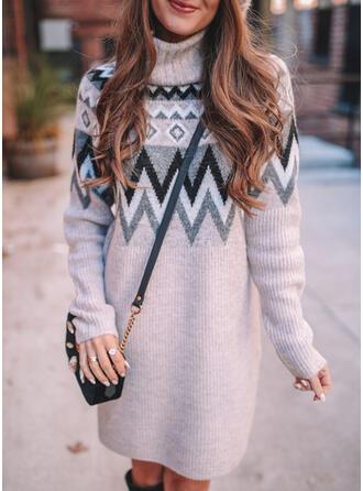 Nadruk Golf Casual Długie Sukienka sweterkowa