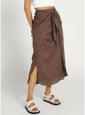 Polyester Plain Mid-Calf Pencil Skirts