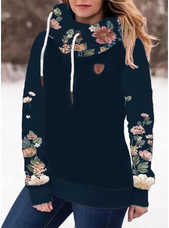Nadruk Kwiatowy Długie rękawy Bluza z kapturem