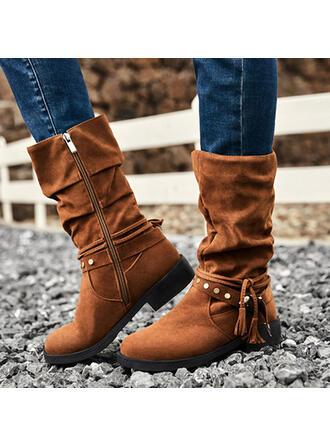 Dla kobiet Zamsz Niski Obcas Z Nit Zamek błyskawiczny Frędzle Jednolity kolor obuwie