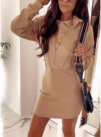 Jednolita Długie rękawy Bodycon Nad kolana Casual Bluza Sukienki