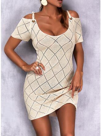 Jednolity Zimne ramię Nieformalny Sukienka sweterkowa