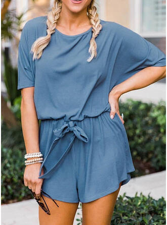 Solid Round Neck Short Sleeves Casual Romper