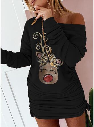 Boże Narodzenie Nadruk/lampart/Zwierzę Długie rękawy Dropped Shoulder Bodycon Nad kolana Impreza Bluza Sukienki
