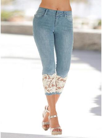 Lace Patchwork Plus Size Elegant Sexy Lace Denim & Jeans