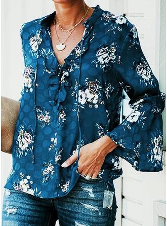 Nadruk Kwiatowy Dekolt w kształcie litery V Rozkloszowane rękawy Długie rękawy Casual Bluzki