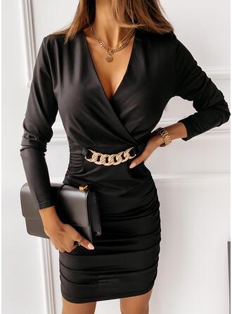 Jednolita Długie rękawy Bodycon Nad kolana Mała czarna/Elegancki Sukienki