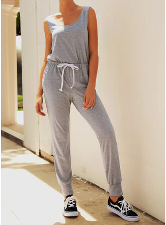 Solid Strap U-Neck Sleeveless Casual Jumpsuit