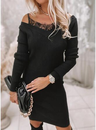 Jednolity Koronka Zimne ramię Nieformalny Sukienka sweterkowa
