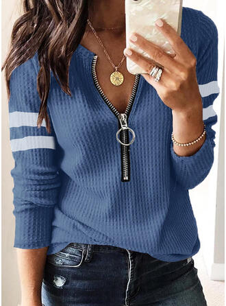 Prążek Wafel Dekolt w kształcie litery V Casual Swetry