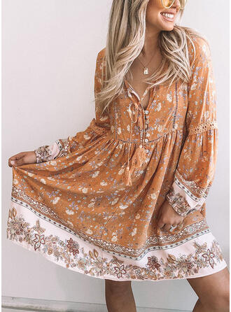 Print/Floral Long Sleeves Shift Knee Length Casual/Boho Tunic Dresses