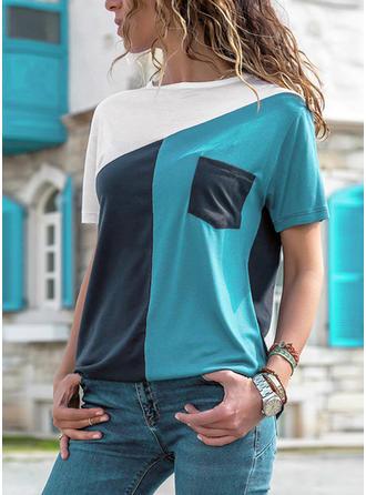 Blok Kolorów Okrągły dekolt Krótkie rękawy Casual Dzianina T-shirty