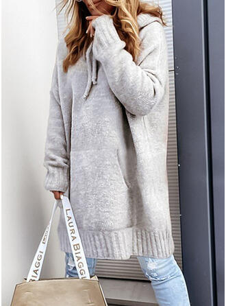 Jednolity Dzianina Długie rękawy Dropped Shoulder Suknie shift Długośc do kolan Nieformalny Sweter Sukienki