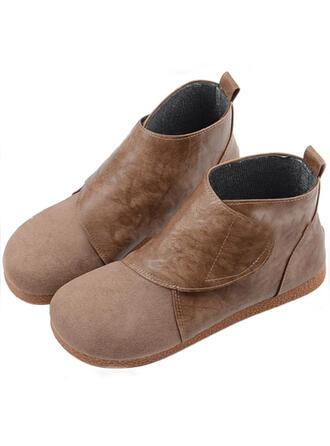 Dla kobiet PU Płaski Obcas Botki Round Toe Z Rzep Jednolity kolor obuwie
