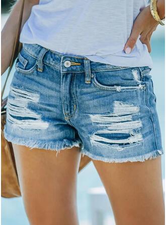 Jednolity Dżinsowa Nad kolanem Nieformalny Duży rozmiar Pocket shirred Ripped Spodnie Szorty Dżinsy