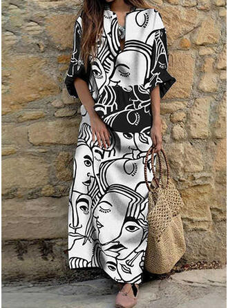 Print 3/4 Sleeves Shift Casual Maxi Dresses