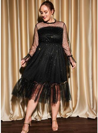 Jednolity Długie rękawy Sukienka Trapezowa Łyżwiaż Mała czarna/Impreza/Duży rozmiar Midi Sukienki