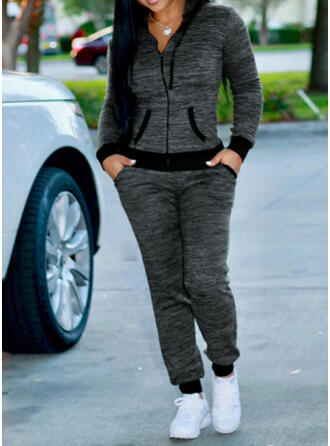 Pockets Plus Size Drawstring Casual Sporty Suits