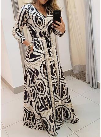 Nadrukowana Długie rękawy W kształcie litery A Wintage/Casual/Elegancki Maxi Sukienki