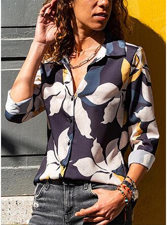 Nadruk Kwiatowy Klapa Długie rękawy Zapięcie na guzik Bluski koszulowe