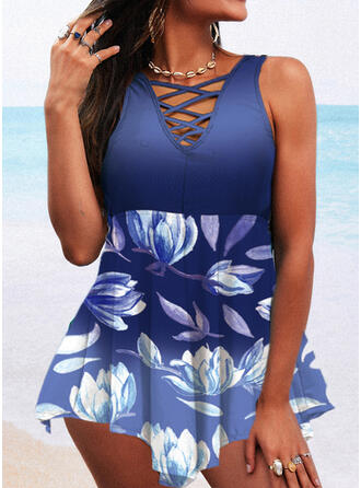 Print Cross Strap V-Neck Attractive Casual Swimdresses Swimsuits