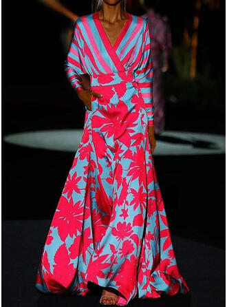 Nadrukowana/Kwiatowy/W paski Długie rękawy/Rękawy w kształcie skrzydeł nietoperza W kształcie litery A Łyżwiaż Przyjęcie Maxi Sukienki