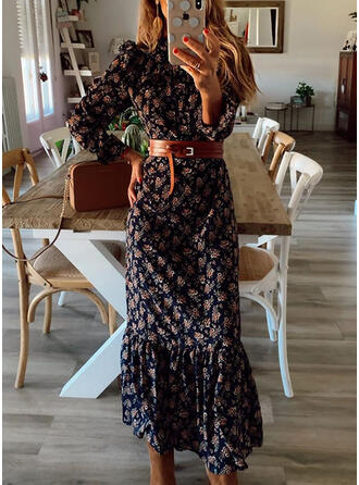 Nadrukowana Długie rękawy/Bufiaste rękawy Pokrowiec Casual Midi Sukienki