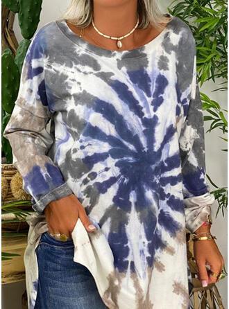 Tie dye barwniki Okrągły Dekolt Długie rękawy Bluza