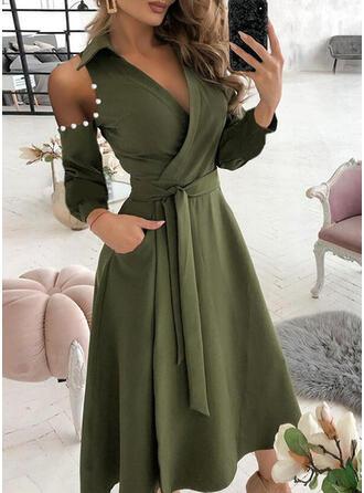 Jednolity Długie rękawy cold ramion rękaw Sukienka Trapezowa Okrycie/Łyżwiaż Nieformalny Midi Sukienki