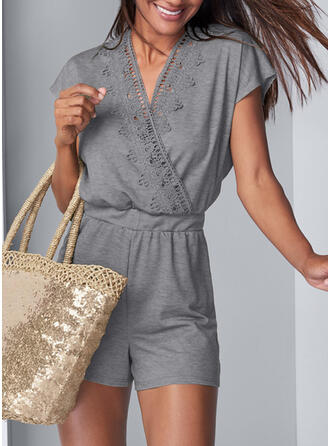 Lace Solid V-Neck Short Sleeves Casual Romper