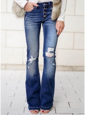 Jednolity Dżinsowa Długo Elegancki Duży rozmiar Pocket Ripped Przycisk Dżinsy